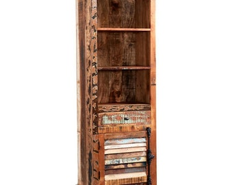 Coastal reclaimed narrow wooden bookcase - Eco friendly - Rustic look