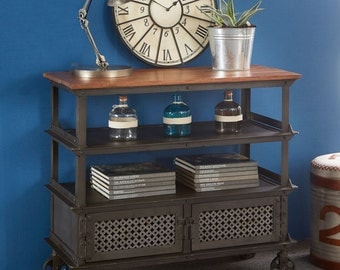 Evoke iron/wooden jali console table - Solid hardwood and reclaimed wood