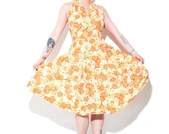 Vintage 1950's Halter Dress Size Medium/Small Orange Yellow Flowers Floral Flare