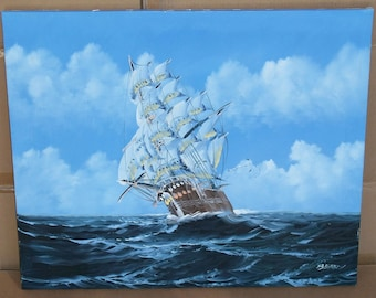 original oil painting clipper ship signed fiery fire yellow boat sea ocean waves nautical mariner BERRY galleon