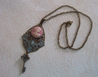 Patina Filigree Cameo and Vintage Key Necklace, Pink Cameo Key Necklace, Antique Bronze and Patina Cameo Pendant Necklace, Filigree Necklace