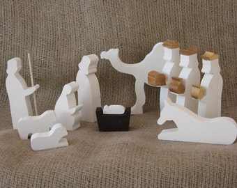 Wooden Nativity Set handmade from salvaged wood