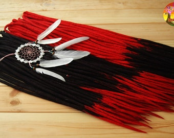 Wool double ended dreads red black dreadlocks free red beads ready to shipping