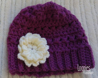 Handmade Crochet Newborn Baby Hat, Crochet Hat, Purple Baby Hat, Cream Flower, New Baby Gift, First Hat
