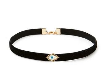 Black Velvet Evil Eye Choker Necklace