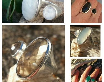 elegant brass ring silver, two natural stones engarzadas