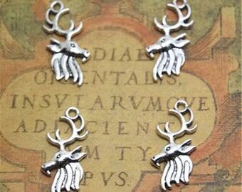 25pcs deer head Charms Silver Tone deer head charm pendants 26x11mm ASD1945