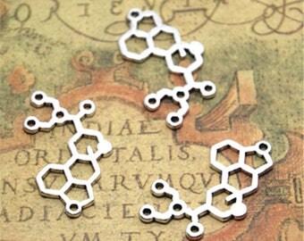 15pcs LSD Molecule Charms Silver tone LSD Molecule charm Pendants 29x21mm ASD2268