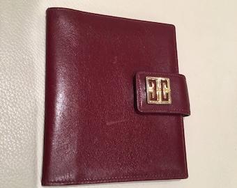 GIVENCHY Leather Card Holder Wallet Gold Hardware Vintage Burgundy Colour