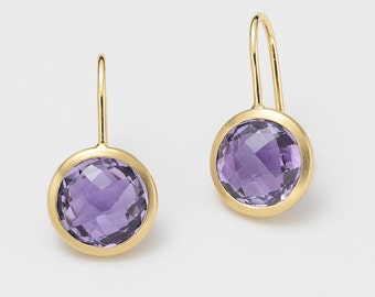 Ear hook 750 / - yellow gold with Amethyst