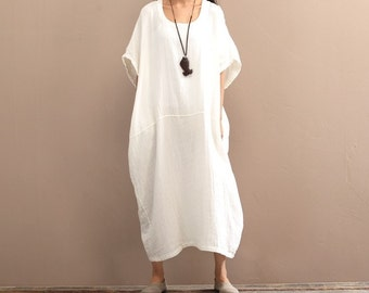 Long loose cotton linen dress/ Oversize, plus size big casual womens maxi/ Short sleeve summer robe day dress robe wide freesize WHITE 8