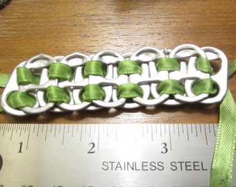Pop Tab Bracelet Lime Green Ribbon