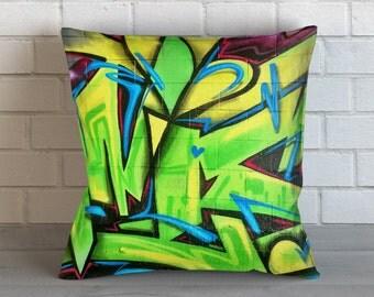 Green Graffiti Pillow