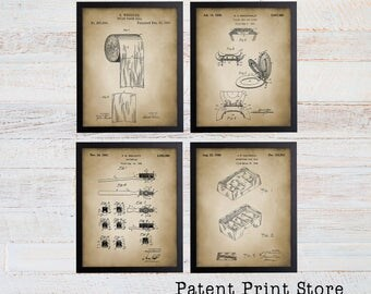 Bathroom Patent Prints Patent Art Bath Patent Wall Art Bathroom Patent Posters