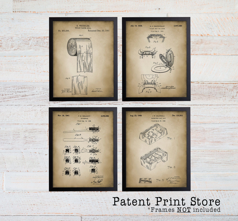 Bathroom Art Print Set Of 4: Bathroom Patent Prints. Patent Art. Bath Patent Wall Art