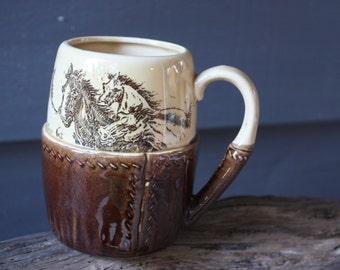 vintage | ceramic | mug | made in Japan | horses | western | cowboy | brown | cream