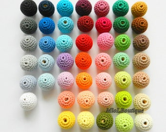 Crochet beads 100 PCS WHOLESALE Coloured beads Melange beads Wooden crochet cotton beads Round beads Made to order
