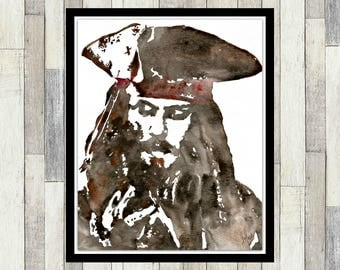 Pirates of the Carribean Inspired, Jack Sparrow, Johnny Depp, Original Watercolour Painting, Wall Art, Poster, Pirate, Boy's Room Decor