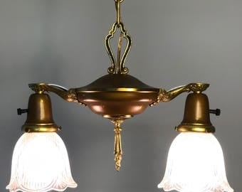 C. 1920's Williamson 2-arm Pan Fixture Chandelier Restored Vintage