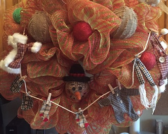 Old Country Christmas Deco Mesh Wreath