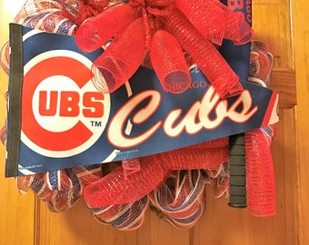Take Me Out To The Ball Game Chicago Cubs Deco Poly Mesh Wreath