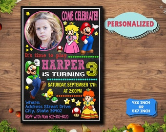 Super Mario Girl Invitation / Super Mario Girl Birthday Invitation / Super Mario Girl Party / Super Mario Girl Birthday / Super Mario Girl