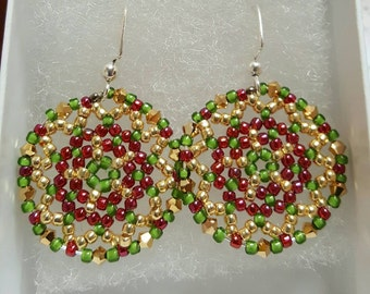 Beautiful Handmade Beaded Earrings. Purple, hold and green. Great for everyday use, holiday jewerly or any special occasion!!