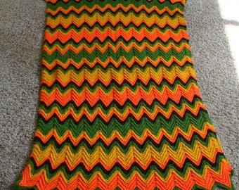 Vintage Handmade Granny Chic Crocheted Afghan Blanket