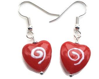 Red Heart Earrings - Valentine's Earrings - Love Earrings - Holiday Earrings - Valentine's Day Jewelry - Dangle Earrings - Heart Earrings