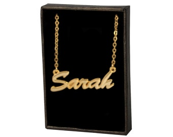 Sarah  Name Necklace Chain Pendant Fashionable 18k gold plated Jewellery Personalised Birthday Gifts For Her - Free Gift Box & Bag