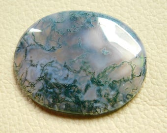 Natural Moss Agate Cabochon Loose Gemstone 27x35 MM Approx Oval Shape 40.00 Cts For Marking Jewely.