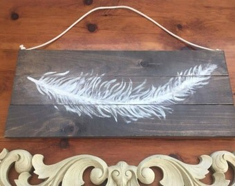 Rustic Bohemian Feather Wood Sign