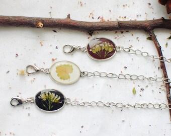 Pressed flower bracelet. Eco resin jewelry. Botanical jewelry