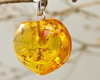 Sterling Silver And Baltic Amber Heart Pendant