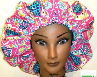 Paisley and Pink Satin-Lined Bonnet