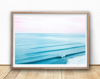 Ocean Wall Art - Ocean Waves, Digital Print, Instant Download, Pink and Blue Wall Art, Beach Print, Minimalist Art, Sea Water, Ocean Poster