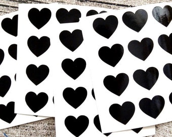 48 Black heart stickers, Black heart mini decals, Black heart envelope seals, for packaging, gift wrapping or wedding invitations