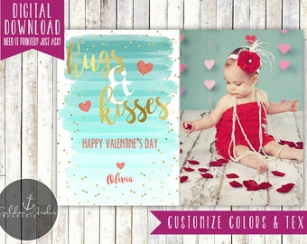 Hugs & Kisses Blue Ombre Watercolor Photo Valentine's Day Card - Printable DIY