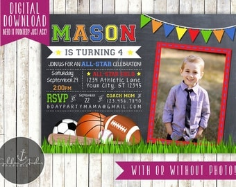 Sports Birthday Invitation, Sport Party Invite, Photo - Printable DIY