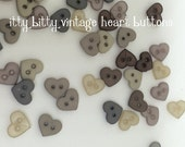 button pack, tiny heart buttons,itty bitty vintage heart buttons