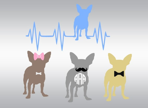 chihuahua dog heartbeat svg clipart cut files silhouette cameo