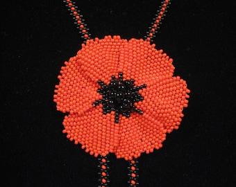 Beaded poppy necklace