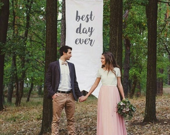Wedding Banner 6ft Tall Best Day Ever, Whimsical Rustic Wedding Decor Sign, Handmade with Unbleached Canvas, Giant Photo Prop Scroll