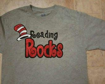 Reading Rocks Shirt/ Teacher Shirt/  Dr Seuss shirt