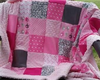 Baby Blanket, Pink Baby Blanket, Girls Pink Baby Blanket, Pieced Baby Blanket, Minky Baby Blanket, Crib Blanket, Throw Blanket, Soft Blanket