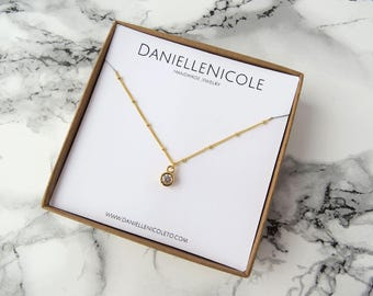 Clear Crystal CZ Pendant Necklace, Round CZ Pendant Necklace, Simple Necklace, Elegant Necklace, Everyday Jewelry, Layering Necklace