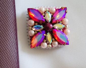 Handmade brooch with rhinestones and Toho seed beads
