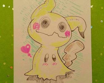 Hand Drawn Artist's Trading Card - Mimikyu - Pokemon Sun and Moon