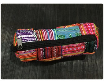Handmade HMONG embroidered cotton pencils case purse