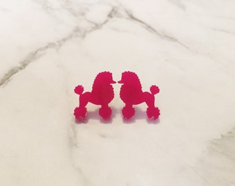 Poodle Studs, Poodle Earrings, Hot Pink Poodle Earrings, Glitter Pink Poodle Earrings, Earrings, Stud Earrings, Studs Pink Earrings,